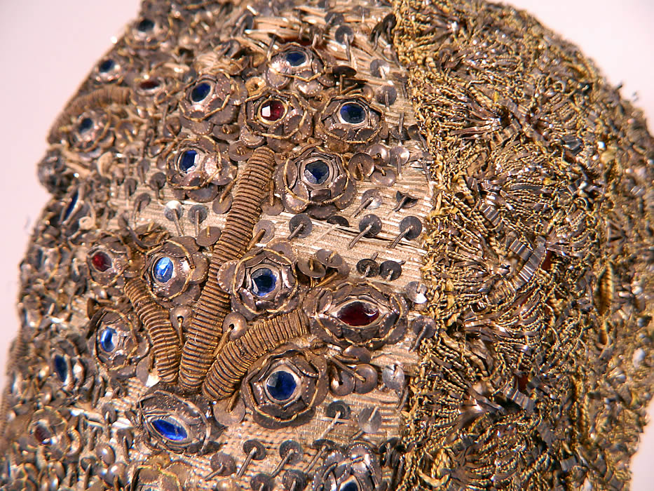 19th Century Antique Silver & Gold Bullion Jeweled German Folk Bonnet Cap