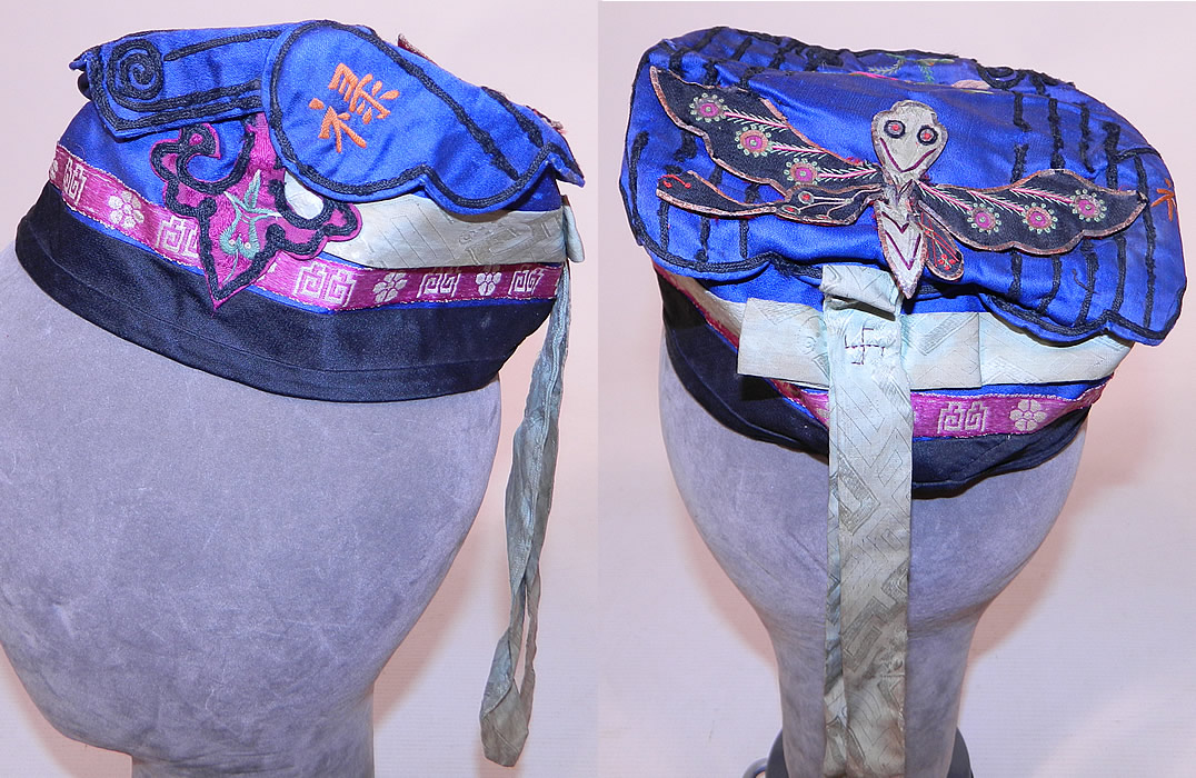 Antique Chinese Child Infant Silk Embroidered Butterfly Wind Hat Cap