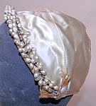 1930s Vintage White Satin Bridal Wedding Cap Orange Blossom Wax Flower Trim