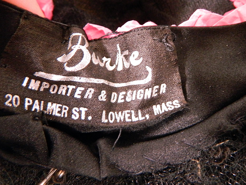 Vintage Burke Beaded Black Woven Horse Hair Straw Sheer Wide Brim Cloche Hat