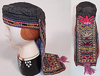 Antique Uzbekistan Suzani Embroidered Tribal Textile Lady's Hood Hat Cap