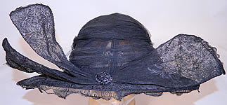 Vintage 1920s Black Chantilly Lace Wired Wing Trim Wide Brim Cloche Hat