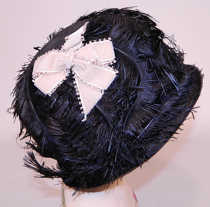 Vintage Black Feather Woven Horse Hair Straw Flapper Cloche Hat