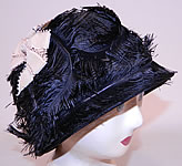 Vintage 1920s Black Feather Woven Horse Hair Straw Flapper Cloche Hat