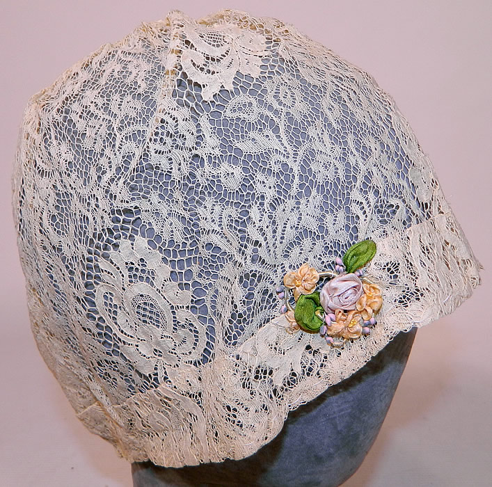 Vintage Lace Silk Rosette Trim Floral Flapper Boudoir Bed Cap Cloche Hat