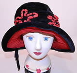 Vintage Black Velvet Red Soutache Embroidered Flower Flapper Cloche Wide Brim Hat