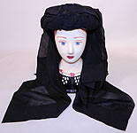 Victorian C.F. Hovey & Co Boston Label Black Silk Crepe Veil Full Mourning Bonnet Hat