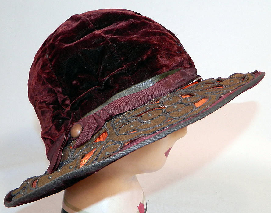 Vintage Burgundy Velvet Orange Silk Brown Cutwork Beaded Trim Wide Brim Cloche Hat