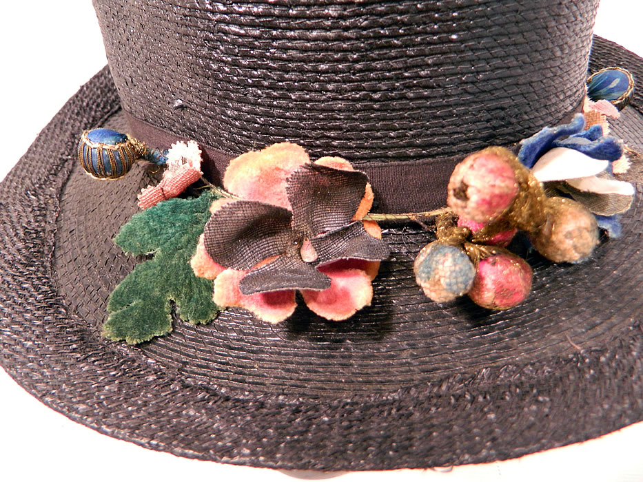 Edwardian Belle Epoque Woven Black Straw Gold Metallic Floral Trim Wide Brim Hat
