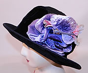 Vintage Hart Hats Black Silk Velvet Wide Brim Purple Flower Flapper Cloche Hat