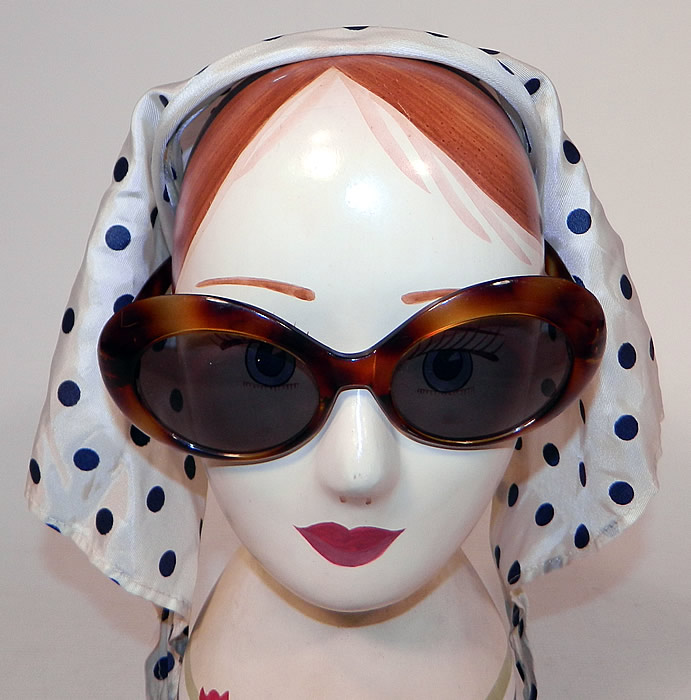 Vintage Audrey Hepburn Style Italian Polka Dot Headscarf Headband & Sunglasses