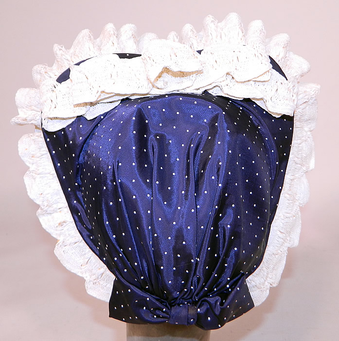 Vintage Navy Blue White Polka Dot Woven Straw Bow Heart Shape Fascinator Hat
