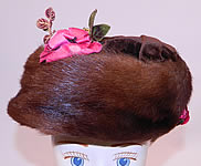 Titanic Edwardian Vintage Brown Velvet Mink Fur Floral Trim Toque Traveling Winter Hat