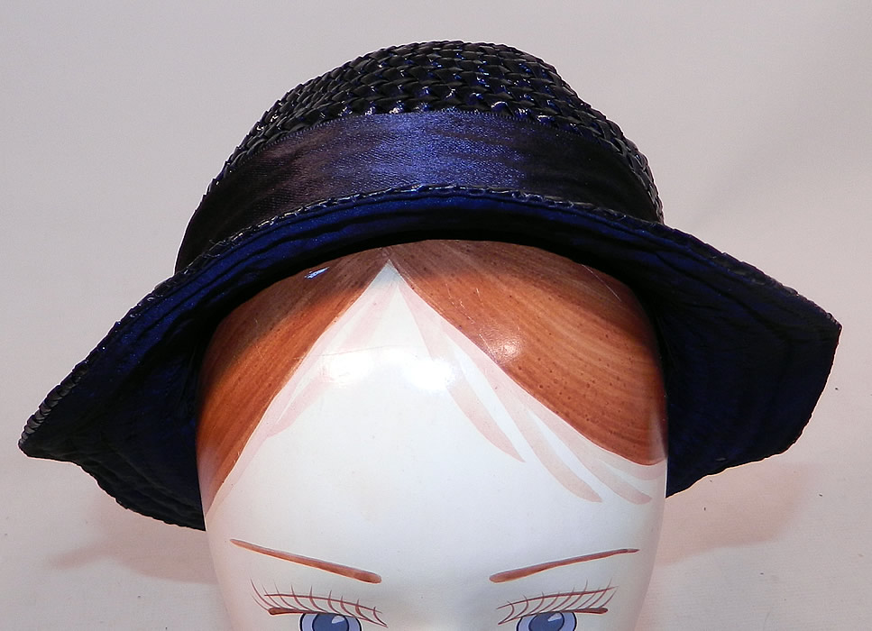 Vintage Navy Blue Woven Straw Red Cherry Silk Ribbon Bow Trim Childs Cloche Hat