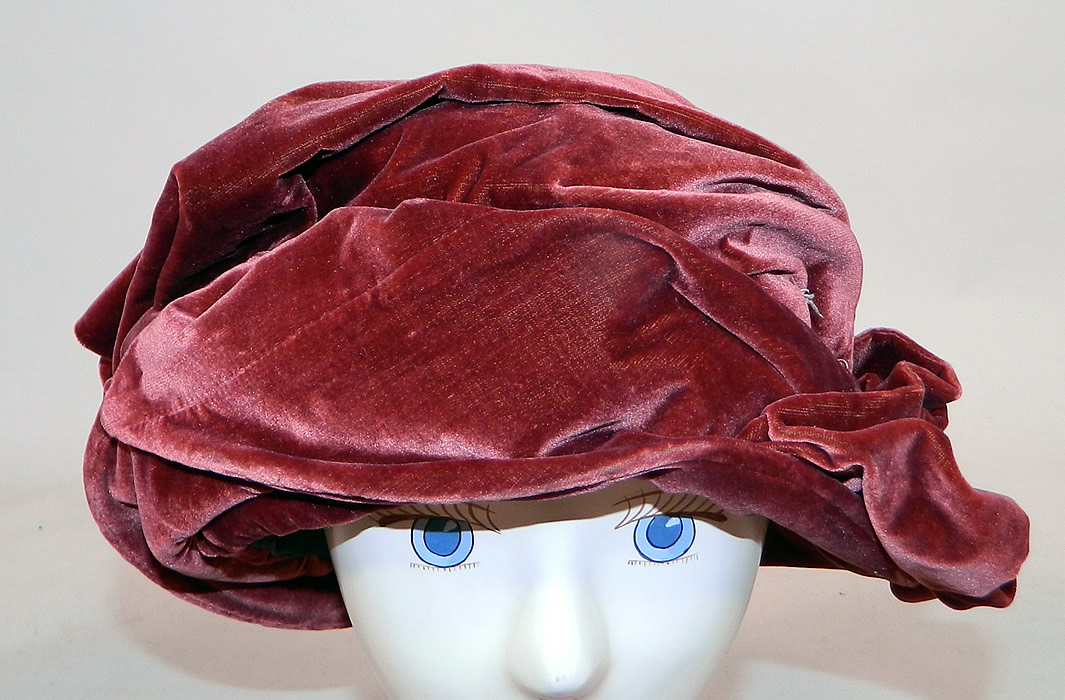 Vintage Art Deco Burgundy Red Silk Velvet Wrapped Turban Toque  Cloche Hat