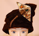 Vintage Sykes NY Label Brown Beaver Felt Fur Gold Jeweled Trim Toque Cloche Hat