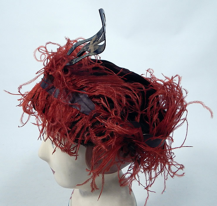 Vintage McGrath Millinery Belle Epoque Burgundy Velvet Feather Trim Toque Hat