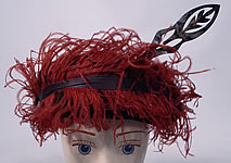 Vintage McGrath Millinery Belle Epoque Burgundy Velvet Feather Trim Toque Hat Pin
