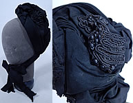 Victorian Vintage Antique Black Silk Grosgrain Jet Beaded Trim Mourning Bonnet Hat