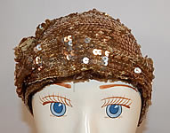 Vintage Frances Louise Hollywood Label Art Deco Gold Sequin Flapper Cloche Hat