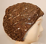 Vintage Smart Hat Label Art Deco Gold Lamé Lame Woven Sequin Beaded Flapper Cloche