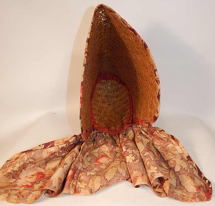 Victorian Womens Woven Natural Straw Chintz Curtain Sunbonnet Sunhat Bonnet