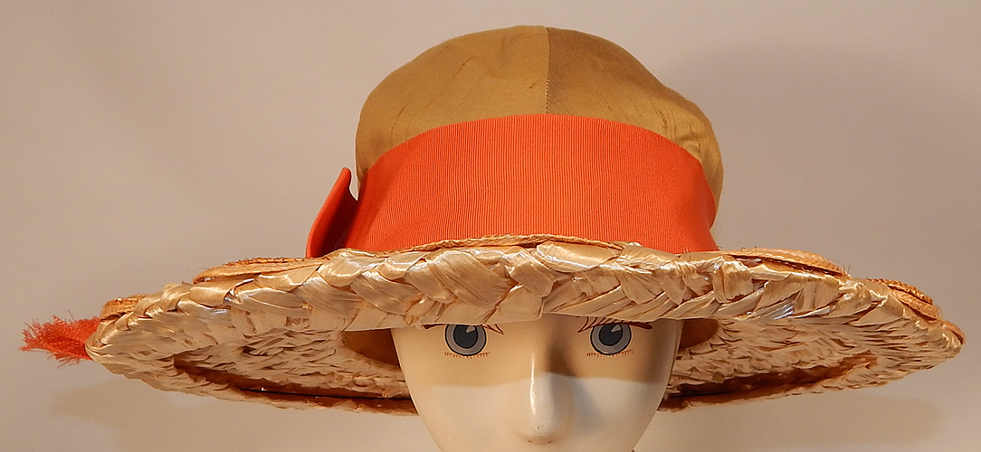 Vintage Schiaparelli Paris Yellow Orange Silk Woven Natural Straw Raffia Wide Brim Hat