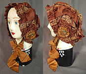 Victorian Brown Silk Ruched Ribbon Steel Cut Button Trim Carriage Bonnet Travel Cap Hat