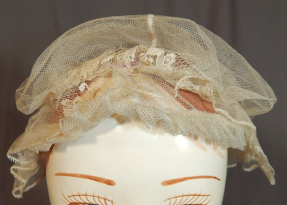 Victorian Civil War Era Antique Cream Net Lace Bed Cap Morning Bonnet Hat