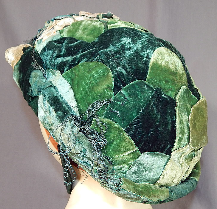 Vintage Janet Meisner Mado Paris Label Green Velvet Leaf Floral Trim Bicorne Hat