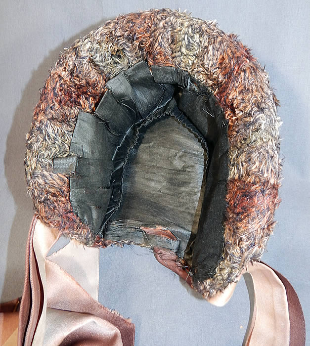 Victorian Ombre Taupe Mohair Chenille Silk Bow Feather Trim Bonnet Hat