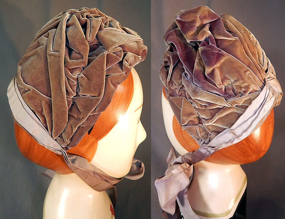 Victorian Purple Lavender Silk Velvet Ruched Gathered Small Half Bonnet Hat