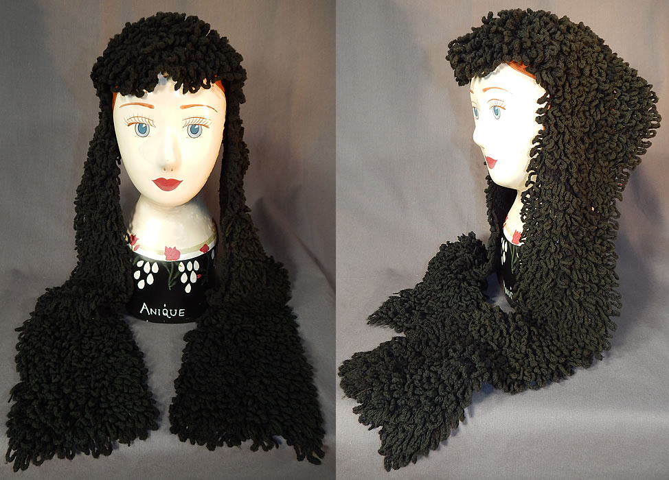 Victorian Black Boucle Looped Wool Hand Knit Winter Bonnet Lappet Scarf