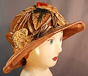 Vintage M. Lurie & Co Harvest Gold Woven Silk Ribbon Rosette Wide Brim Cloche Hat