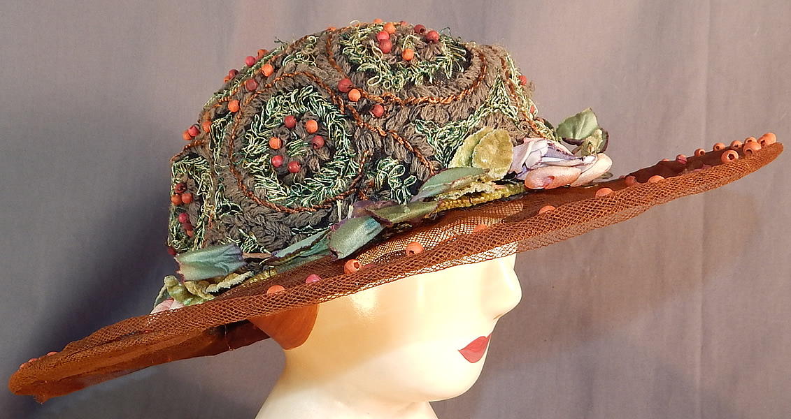 Vintage Beaded Brown Tulle Net Green Embroidered Rosette Wide Brim Cloche Hat