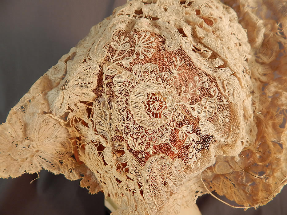 Antique Hand Made Brussels Point de Gaze Duchesse Bobbin Lace Bridal Wedding Hat