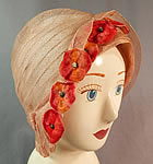 Vintage Art Deco Woven Pink Pastel Red Velvet Flower Flapper Cloche Hat