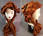 Edwardian Pleated Brown Silk Horseless Carriage Motoring Bonnet Cap Womens Hat