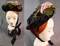 Victorian Woven Black Straw Pink Roses Jet Beaded Buckle Trim Bonnet Hat