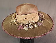 Edwardian Lavender Purple Gray Velvet Grape Berry Leaf Large Wide Brim Hat