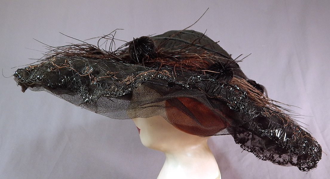 Edwardian Black Tulle Net Sequin Feather Trim Large Wired Wide Brim Hat
