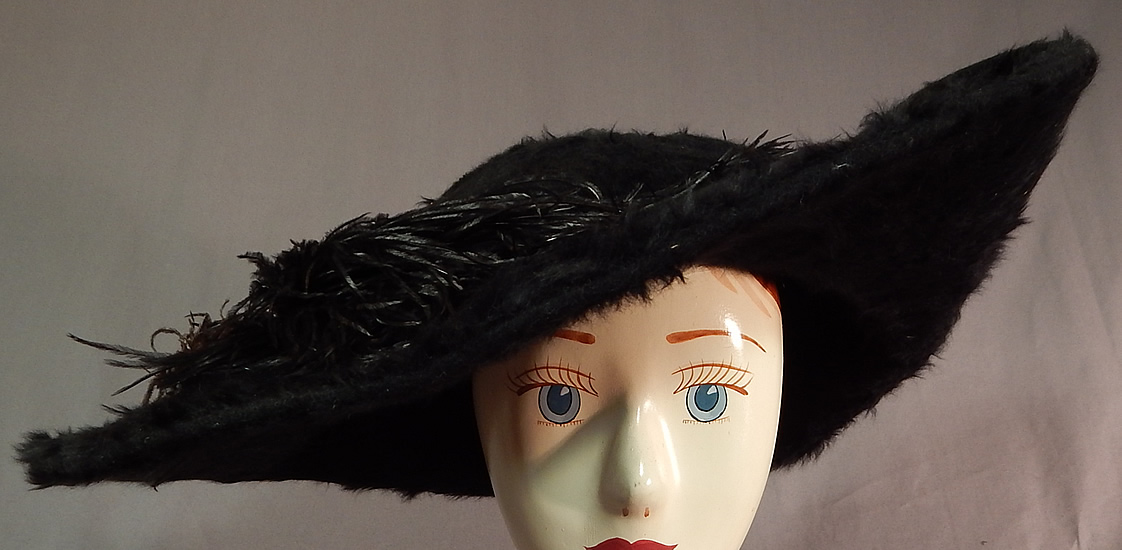 Edwardian Titanic Black Beaver Felt Fur Feather Large Wide Upturned Brim Tricorn Hat