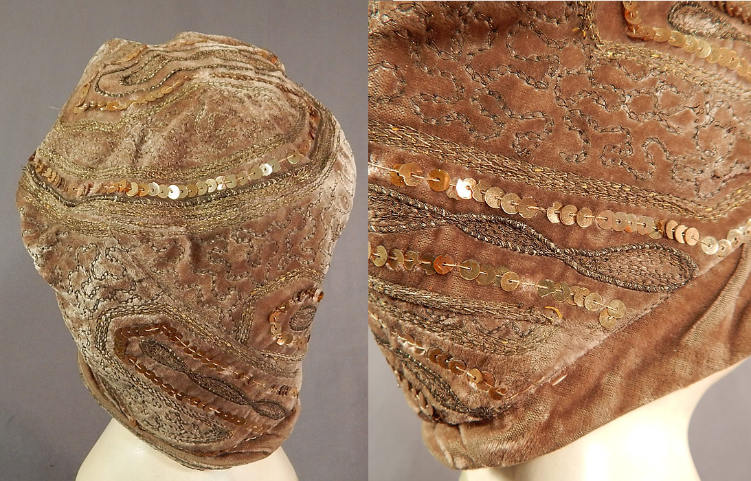 Vintage Art Deco Gold Lamé Embroidery Sequin Beaded Flapper Cloche Hat