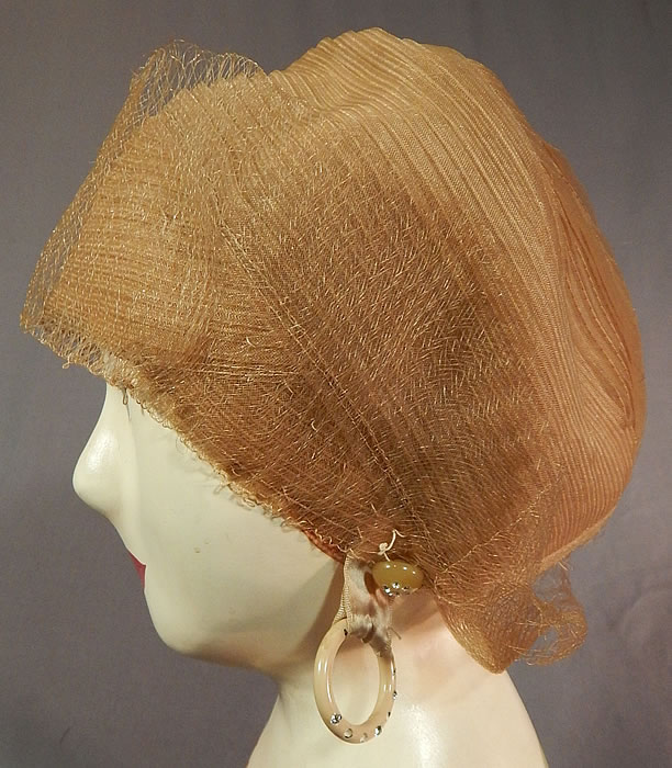 Vintage Art Deco Gold Crinoline Horse Hair Woven Flapper Skull Cap Cloche Hat