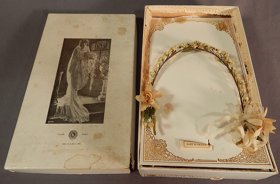 Vintage French Flapper Wax Flower Bridal Wreath Wedding Headband Headpiece & Box