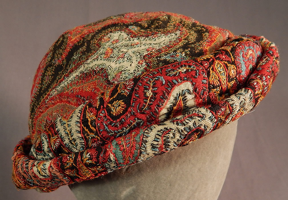 Vintage Lilian Deyber Antique Embroidered Kashmir Wool Paisley Turban Hat