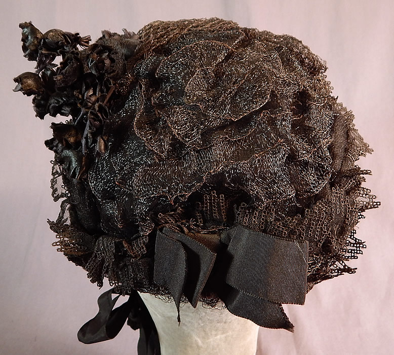 Victorian Black Woven Straw Lace Net Flowers Full Mourning Bonnet Hat