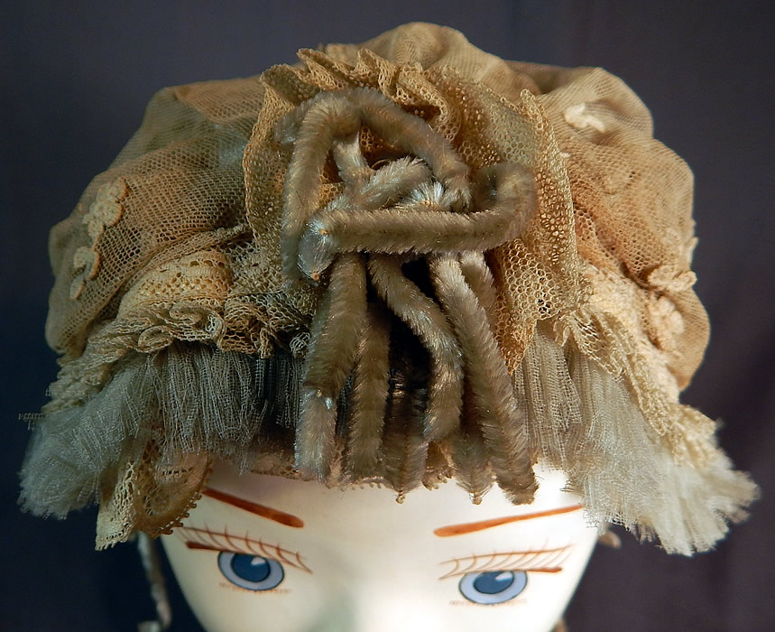Victorian Cream Tulle Net Lace Blue Silk Chenille Trim Bed Cap Bonnet Hat