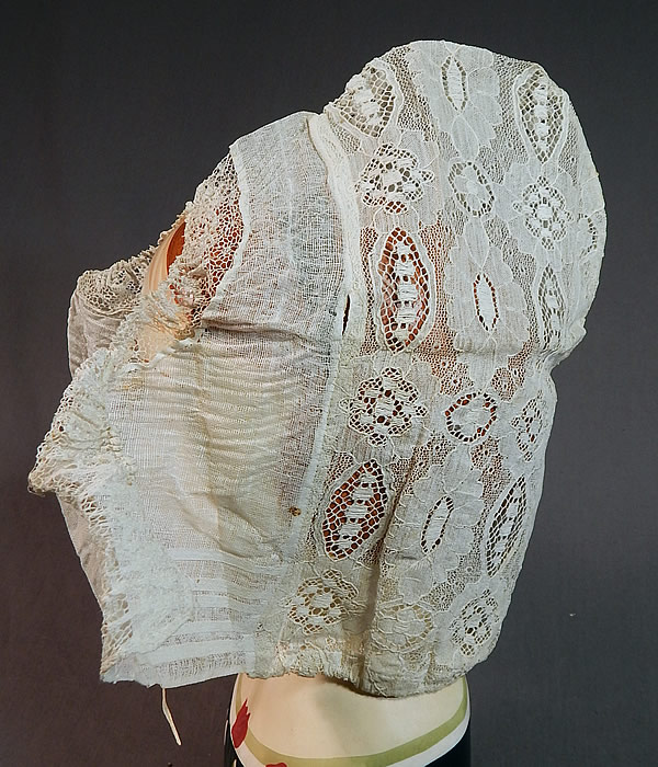 Vintage Antique Womens White Lace Dutch Folk Costume Bonnet Cap Hat