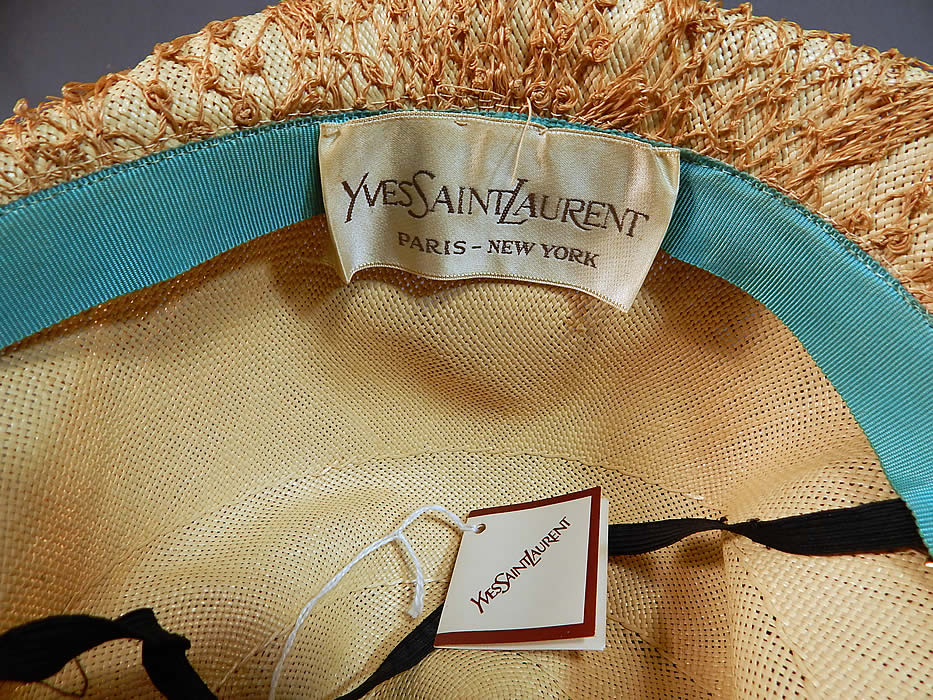 Vintage Yves Saint Laurent YSL Designer Label Macrame Woven Natural Straw Cloche Hat NWT